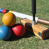Croquet mallet and balls