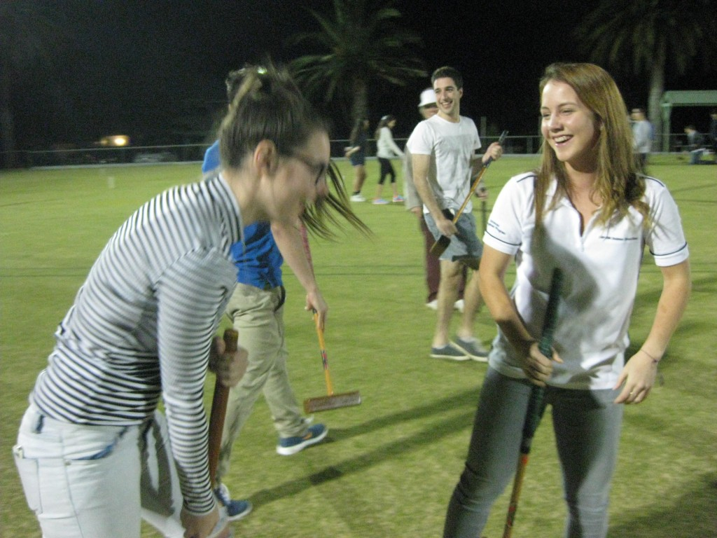 First year students enjoying the fun, vibrancy and colour of croquet