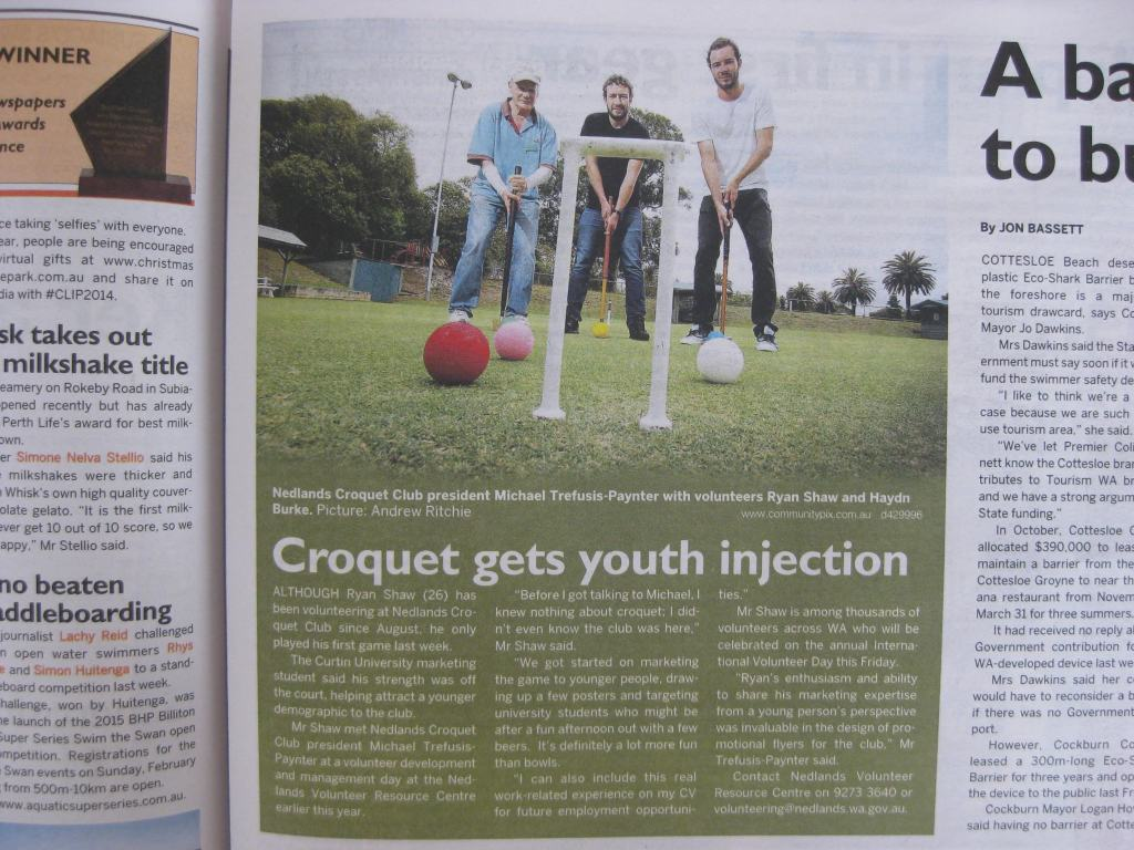 Western Suburbs Weekly article - 2 Dec 2014