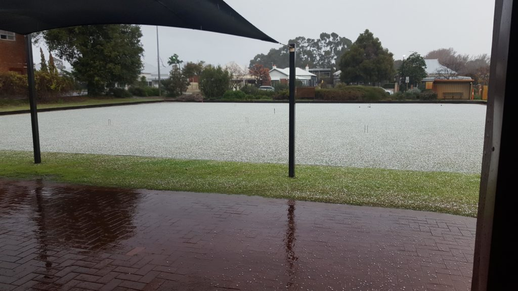 Forrest Park Croquet Club Court No 1 after July hailstorm