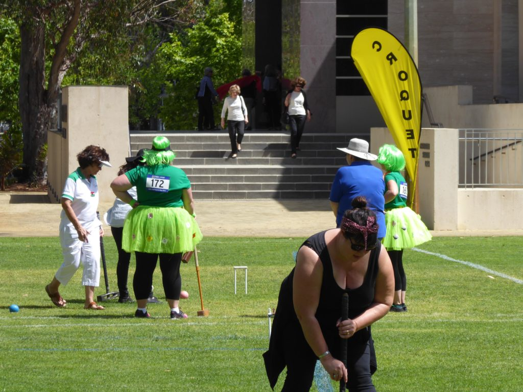 Nedlands Croquet Club's Wendy Prendiville supervising a tightly-fought game